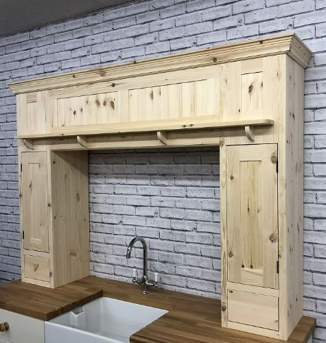 Pine Traditional Style Solid Pine Over Mantle Kitchen Unit